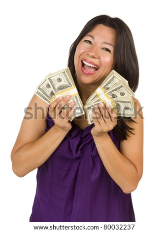Excited Attractive Multiethnic Woman Holding Hundreds of Dollars Isolated on a White Background. - stock photo