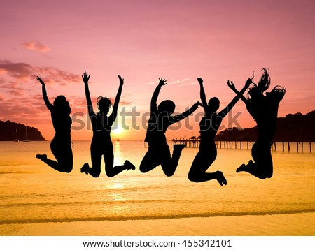 Excited Backlit Group  - stock photo
