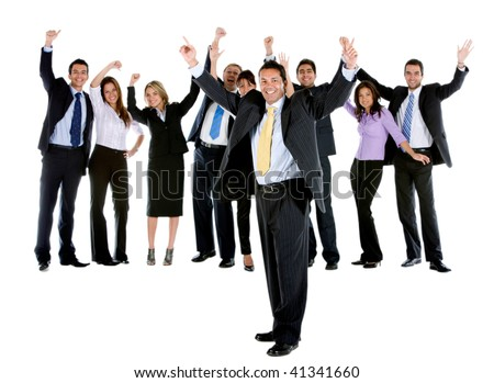 Excited business group isolated over a white background - stock photo