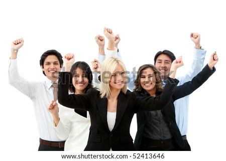 Excited business group with arms up isolated over a white background