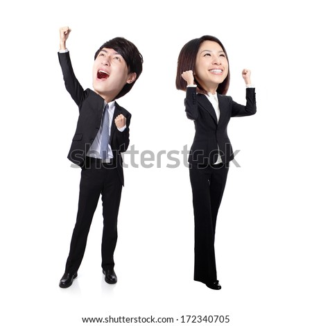 Excited business man and woman with arms raised in full length Isolated on white background, asian, big head - stock photo