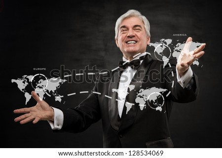 Excited business man succeed in international business - conceptual photo - stock photo