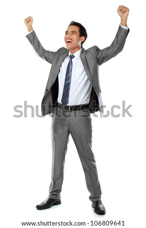 Excited business man with arms raised in success - Isolated on white - stock photo