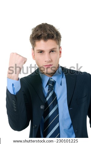 Excited business man with success expression - stock photo