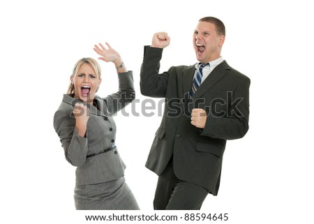 Excited business people pumping fists isolated on a white background - stock photo