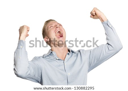 Excited business person shouting with arms up suggesting success, isolated on white background. - stock photo