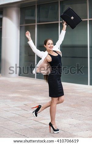 Excited business woman  - stock photo