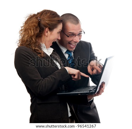 Excited businessman and business woman found what they were looking for  isolated on white.