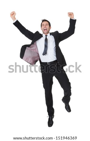 Excited businessman celebration success. Isolated on white - stock photo