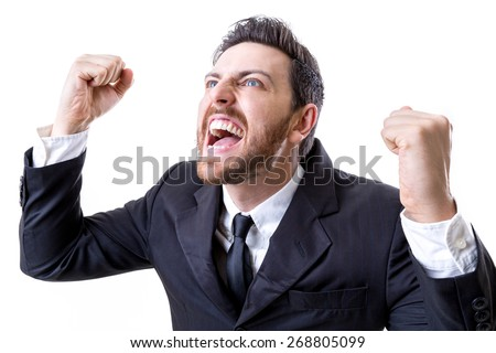 Excited businessman celebration success on white background - stock photo