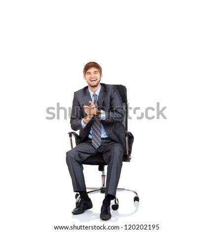 Excited businessman happy smile applauding hands sitting in chair, business man clap with hand, wear elegant suit and tie isolated over white background