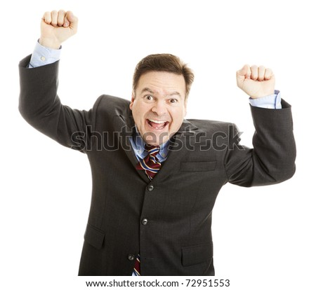 Excited businessman rasing his arms and cheering joyfully.  Isolated on white. - stock photo