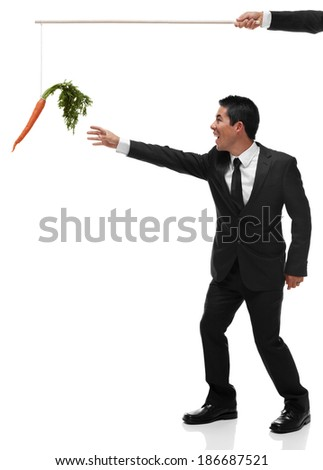 Excited businessman reaching for a carrot on the end of a stick being bribed full body - stock photo