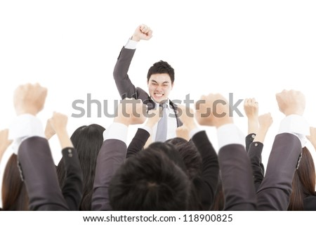 excited businessman with success business team - stock photo