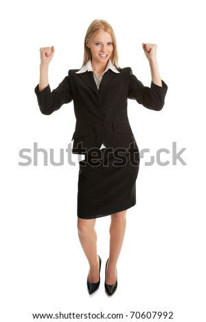Excited businesswoman celebrating success. Isolated on wihte - stock photo