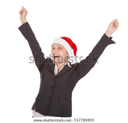 Excited Businesswoman wearing santa hat on white background - stock photo
