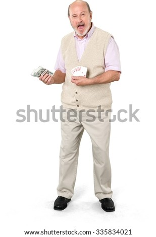 Excited Caucasian elderly man with short grey hair in casual outfit holding money - Isolated - stock photo