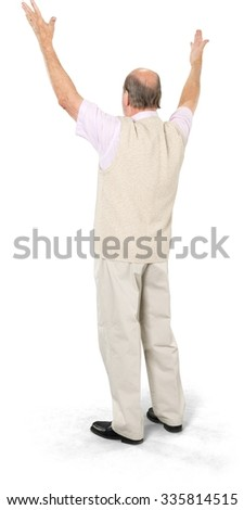 Excited Caucasian elderly man with short grey hair in casual outfit with arms open - Isolated - stock photo