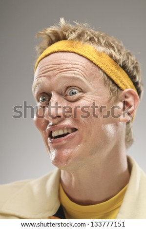 Excited Caucasian Man Making A Face - stock photo