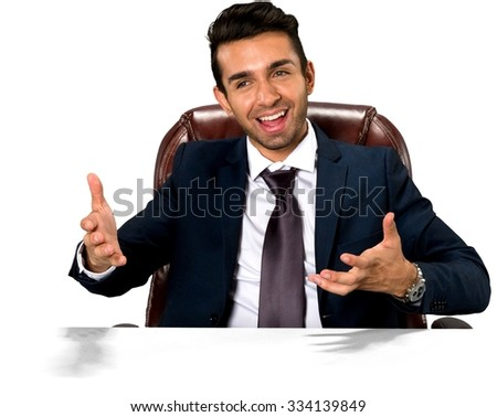 Excited Caucasian man with short dark brown hair in business formal outfit pointing using palm - Isolated