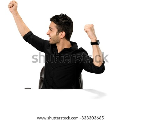 Excited Caucasian man with short dark brown hair in casual outfit with arms open - Isolated