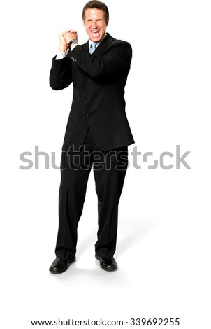 Excited Caucasian man with short medium blond hair in business formal outfit celebrating - Isolated