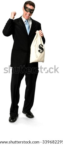 Excited Caucasian man with short medium blond hair in business formal outfit holding mask - Isolated