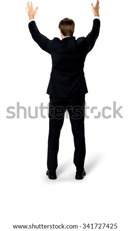 Excited Caucasian man with short medium blond hair in business formal outfit with arms open - Isolated