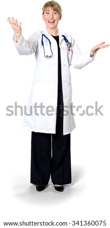 Excited Caucasian woman medium blond in uniform talking with hands - Isolated