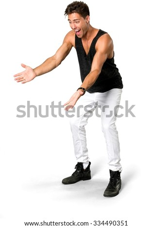 Excited Caucasian young man with short medium brown hair in casual outfit with arms open - Isolated