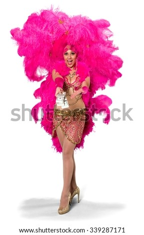 Excited Caucasian young woman in costume holding money - Isolated