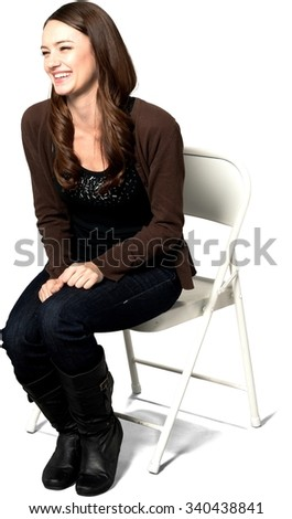 Excited Caucasian young woman with long dark brown hair in casual outfit - Isolated - stock photo