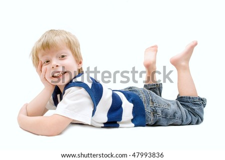 Excited child over a white background with drop-shadow. - stock photo
