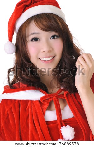 Excited Christmas girl, half length closeup portrait on white background. - stock photo