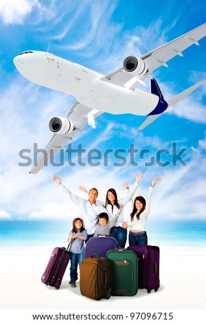 Excited family going on holidays by airplane - stock photo