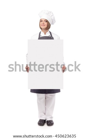 excited female chef, cook or baker holding blank board with empty copy space for you text isolated on white background. advertisement banner. your text here - stock photo