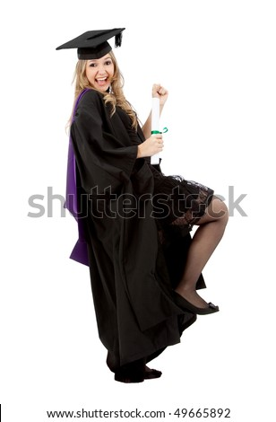 Excited female graduate jumping isolated over a white background - stock photo