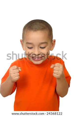 Excited five-year-old boy, isolated on white - stock photo