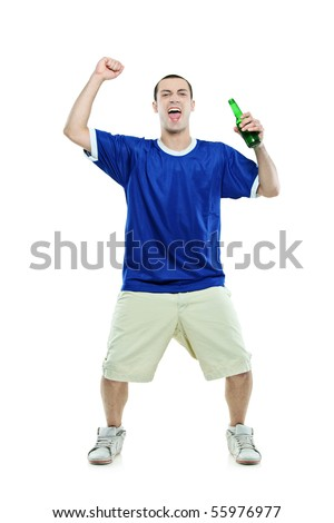 Excited football fan with a beer in his hand watching sport isolated on white background - stock photo
