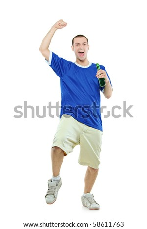 Excited football fan with a beer in his hand watching sport isolated on white background