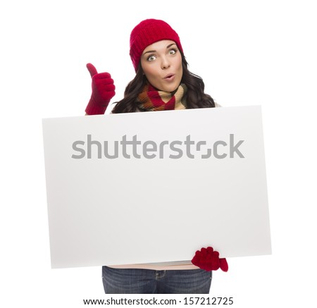 Excited Girl Holds Blank Sign and Gives Thumbs Up Gesture Isolated on White Background. - stock photo