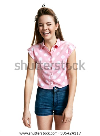 Excited girl laughing / photo of young cheerful brunette woman over white background, positive emotions - stock photo