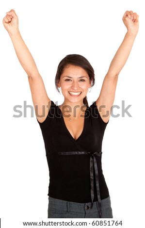 Excited girl with arms up - isolated over a white background - stock photo