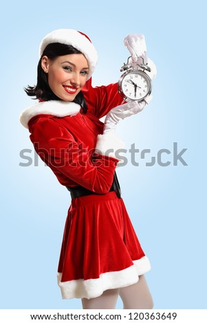excited girl with santa hat holding clock. illustration