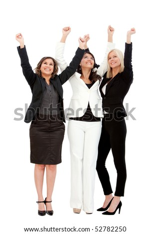 Excited group of business women isolated over a white background - stock photo