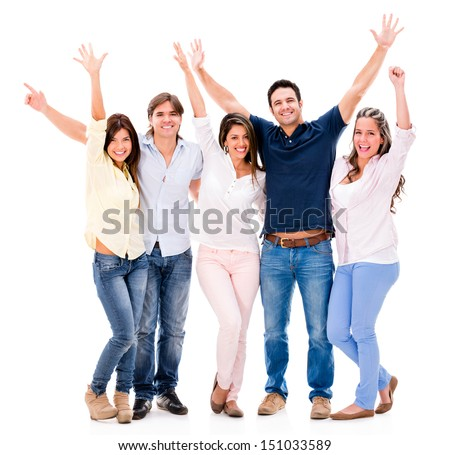 Excited group of people with arms up - isolated over a white background
