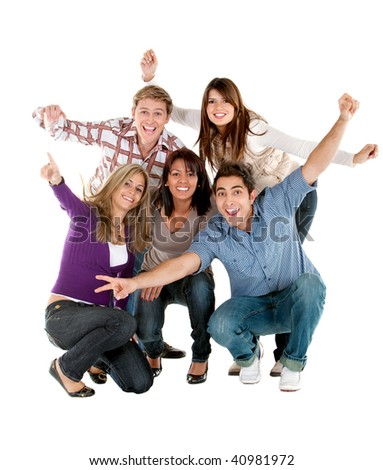 Excited group of people with arms up isolated over a white background