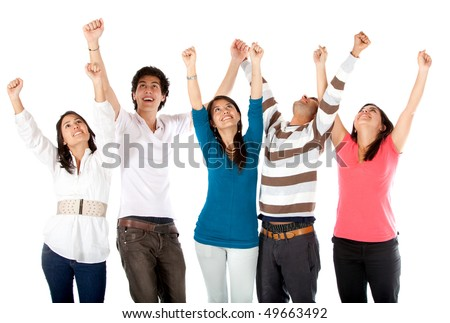 Excited group of people with arms up isolated over a white background - stock photo
