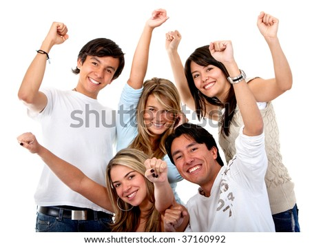 Excited group of young people isolated over white