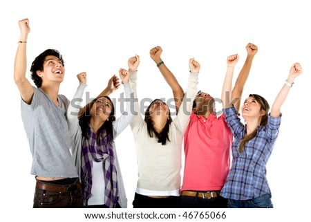Excited group with arms up isolated over a white background